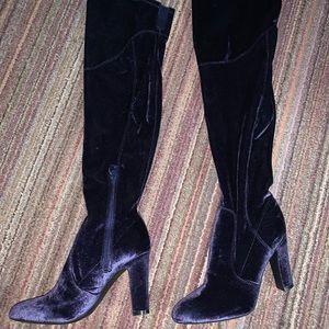 Blue Crushed Velvet Knee-high Boots